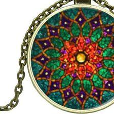 Green Mandala, Sacred Geometry Bronze Pendant Necklace Ladies or Men's Jewellery