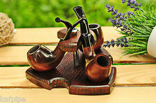 Tobacco pipe stand hold 3 smoking pipes KAF3 Wooden 3 pipe rack