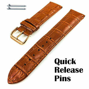 Light Brown Croco Leather Replacement Watch Band Strap Rose Gold Buckle #1074