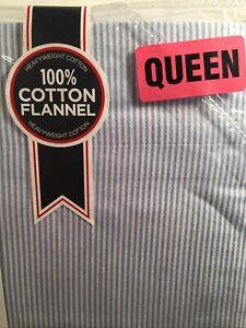 Tommy Hilfiger Flannel Queen Blue White Oxford Stripe 100% Heavyweight Cotton