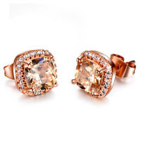 Newest Square Cut Honey Morganite Gems Silver Rose Gold Plated Stud Earrings