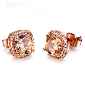 Natural Square Cut Honey Morganite Gems Silver Rose Gold Plated Stud Earrings