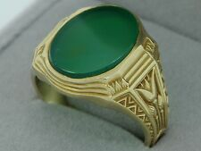 Art Nouveau (ca. 1920) 14K Yellow Gold Dyed Green Agate Ring (Size 7 3/4)