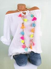 ♥ Italy Tunika Bluse Sommer Shirt Damen Baumwolle WEISS Carmen 40 42 44 M L F121
