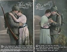 Leb wohl Lot 2 AK 1915 WK I Abschied Soldat und Geliebte Militaria 1606530