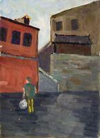 """Russischer Realist Expressionist Öl Leinwand """"Rotes Haus"""" 35 x 25 cm"""