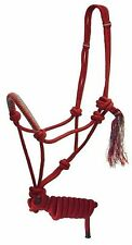 Showman Red Cowboy Knot Rope Halter 7' Lead w Two Toned Colored Noseband