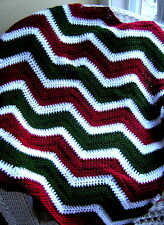 CROCHET chevron ripple baby blanket afghan wrap shawl handmade CHRISTMAS wine