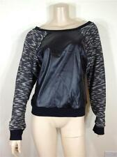 NEW FAMOUS CATALOG FAUX LEATHER / TEXTURED KNIT PULL OVER SWEAT SHIRT SZ M