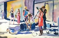 "ORIGINAL watercolour painting buskers Dorchester 20"" x13"" Marilyn Allis"
