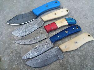 LOT OF 5 Hunting Nest Custom Handmade Damascus steel hunting skinner knife 390