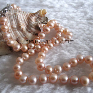 """16"""" 5-6mm Peach Pink AA Freshwater Pearl Necklace Child Jewelry L UE"""