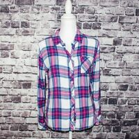 Rails Women's Button up Flannel Shirt Blue Pink Plaid Size Small 100% Rayon