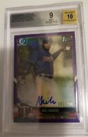 Akil Baddoo 2018 Bowman Chrome RC Auto Purple Refractor /250 BGS 9 TIGERS HOT