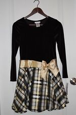 NEW Bonnie Jean Holiday Christmas Dress Black Velvet Gold Plaid Girls Sz 14