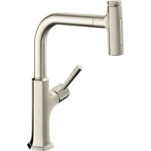 """hansgrohe Locarno Prep Kitchen Faucet 1-Handle 15"""" Tall PD Spryr Br Nkl 04828800"""