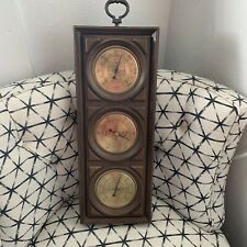 Vtg Springfield barometer thermometer humidity meter faux wood style made in USA