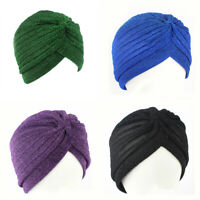 UK Women Shiny Shimmer Glitter Sparkly Indian Turban Cap Muslim Hijab Hot