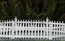 Miniature Dollhouse FAIRY GARDEN Furniture ~ White Metal Picket Fence ~ NEW