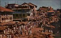 Bombay Mumbai Indien Postkarte ~1950/60 Null Bazar Blick auf den Markt Buden