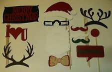 13 pcs DIY-Photo Booth Props Mustache on a stick Christmas December (2029D)