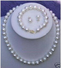 Necklace Bracelet Earring Set Aaa+ 7-8mm Real White Cultured Pearl