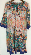 Lola Australia Tunic Dress Small S White Paisley Floral Shift Boho 3/4 Sleeves