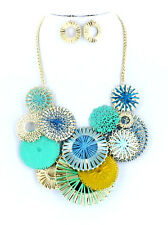 Art Deco Turquoise Gold Cobalt Blue Circle Textured Metal Disc Necklace Set