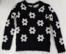 Forever 21 Fluffy Fuzzy Sweater Black w/ Cream Flowers NEW WITH TAG Sz Small