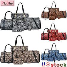 6Pcs/Set Women Leather Handbag Snake Print Design Brand Tote Shoulder Bag Purse