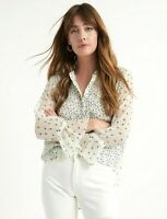 LUCKY BRAND White Floral Print Long Sleeve Peasant Top Blouse ~ Sz L ~ NWT $89