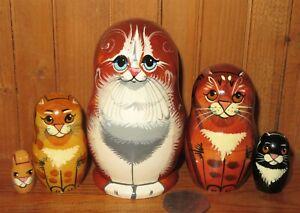 SLIGHT SECONDS Ginger Cat Black Tabby Kitten Russian small Nesting Dolls 5 GIFT