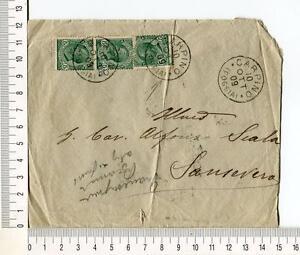 20220) ITALIA 10.10.1909 Busta Carpino San Severo (FG) - 5c dent. spost. basso
