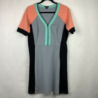 I love Ronson Color Block Dress Half Zip Women's Size Large Coral Green Gray