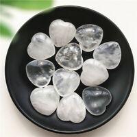 Natural White Quartz Crystal Heart Shaped Stone Meditation Healing Gift Chakra