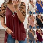 Womens Casual Cold Shoulder T Shirt Short Sleeve Zipper V Neck Blouse Loose Tops