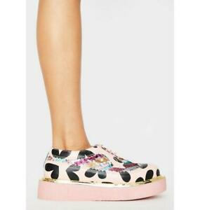 Irregular Choice 'Stage Skool' (A) Pink Platform Brogues Flat Shoes