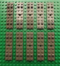 10 Lego Train Track Sleeper Plate 2 x 8 with Cable Grooves Dark Grey No. 4166