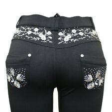 Plus Size NEW Ladies Stretchy Black Embroidery Skinny Jeans Jeggings Leggings