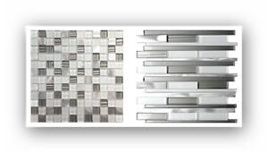 Glas Aluminium Metall Mosaik Fliesen Fliesenspiegel Silber Grau Weiß Mosaik Bad