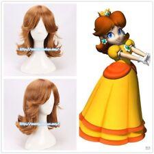 Super Mario Land Princess Daisy Anime Costume Cosplay Wig +Wig Cap