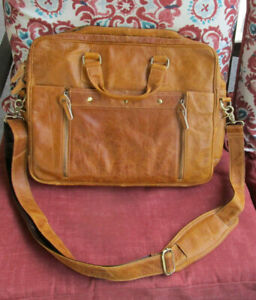 Verano Italian Leather Messenger Laptop Shoulder Bag Briefcase