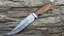 10.4'' CUSTOM MADE DAMASCUS STEEL HUNTING BOWIE KNIFE|ROSE WOOD HANDLE