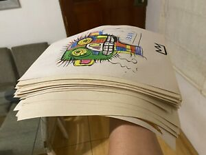 JEAN MICHEL BASQUIAT WATERCOLOR DRAWINGS ON PAPER SIGNED SEALED 50 PIECES