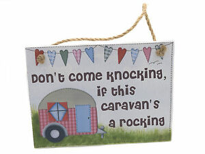 Caravan /  Camping  Novelty Wooden Wall Plaque on Rope with Caption