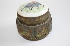 Bronce Antiguo/viejo Chino Tallado Caja de imagen con tapa de porcelana pintado en la parte superior