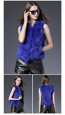 Genuine Rabbit Fur Vest Women Autumn Real Fur Short Jacket Sleeveless Girls