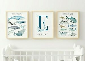 Shark Whale Monogram Personalised Nursery Prints Ocean Nautical Art Set 3 628-A