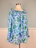 Size XL Talbots Women's Blue Paisley Peasant Top Blouse Shirt Womens Extra Large