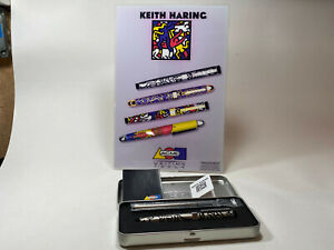 """Vintage ACME Studio KEITH HARING """"Doubles Silver"""" Rollerball Pen w/ Easel Card"""